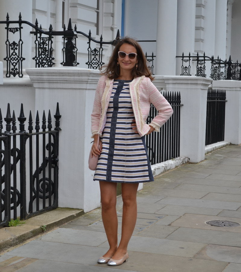 Stripey dress Max & Co, Boucle jacket, dolce glasses