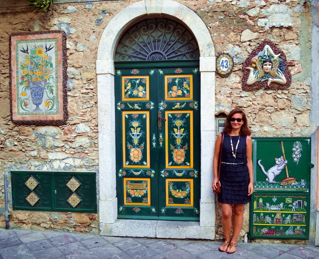 Decorated house in Taormina, Sicily with Medusa
