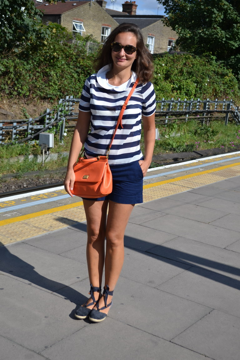 Moschino Shorts, Breton shirt, Miss Sicily Dolce and Gabbana bag