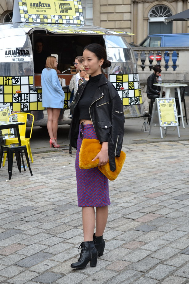 London Fashion Week Sept 2014 street style lilac mustard