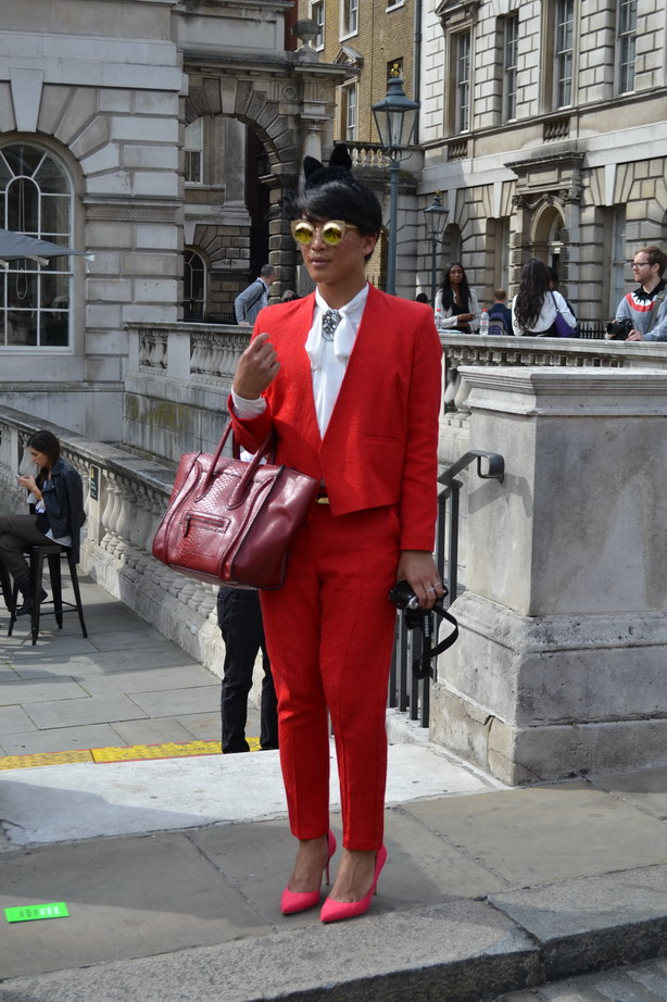 London Fashion Week Sept 2014 street style Man in red