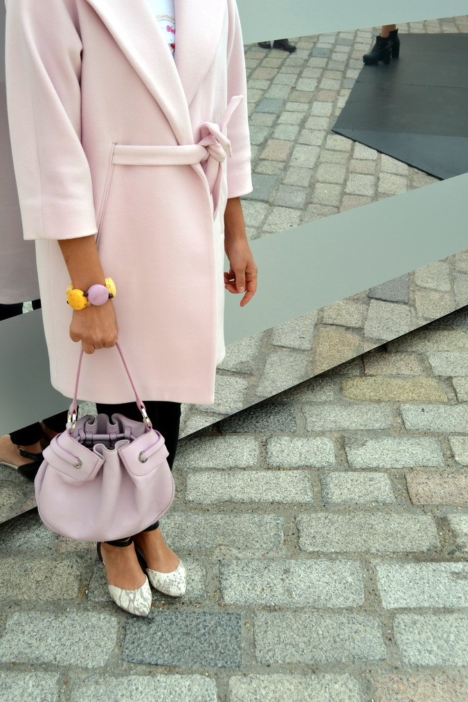 London Fashion Week Sept 2014 street style pink coat max and co macaron bracelet les nereides
