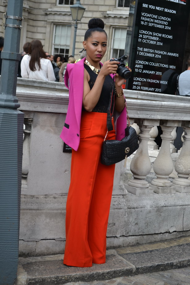 London Fashion Week Sept 2014 street style colourblock