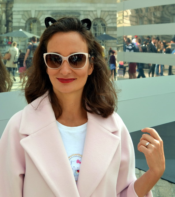London Fashion Week Sept 2014 street style pink coat max and co