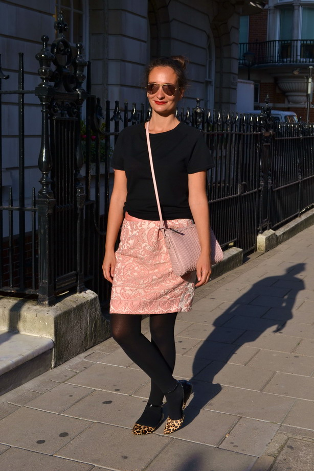 Tulip brocade skirt london street style