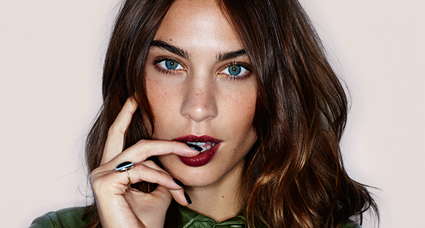 "Alexa Chung wearing the dark berry lipstick ""Bruised Plum"" By Tom Ford"