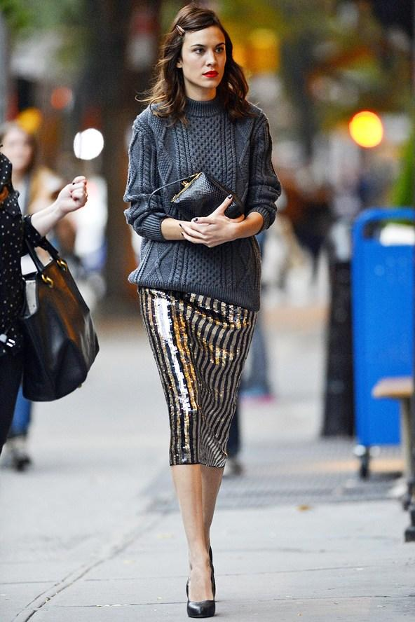alexa chung heavy knit and sequinned skirt