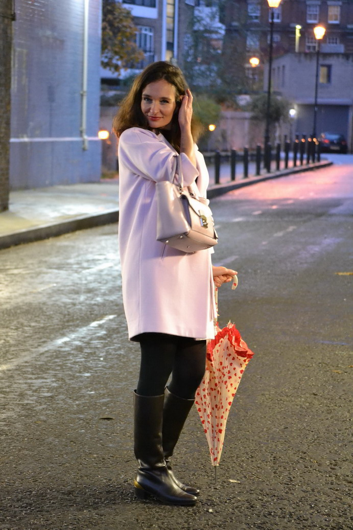 Pink max and co winter coat and brown sergio rossi boots london street style