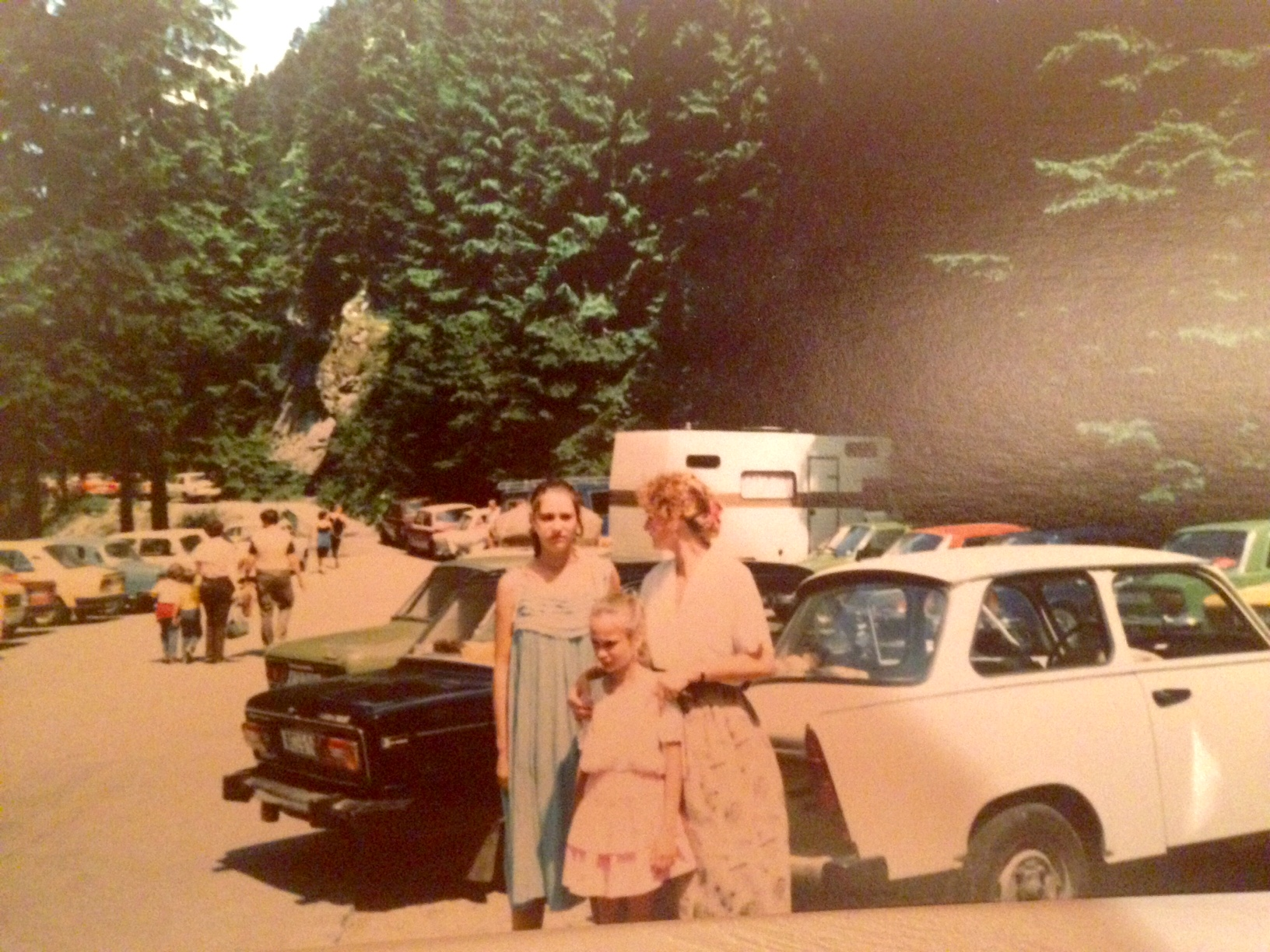 Rebel, Romantique and our mum in East Germany, note the Trabi in the background!