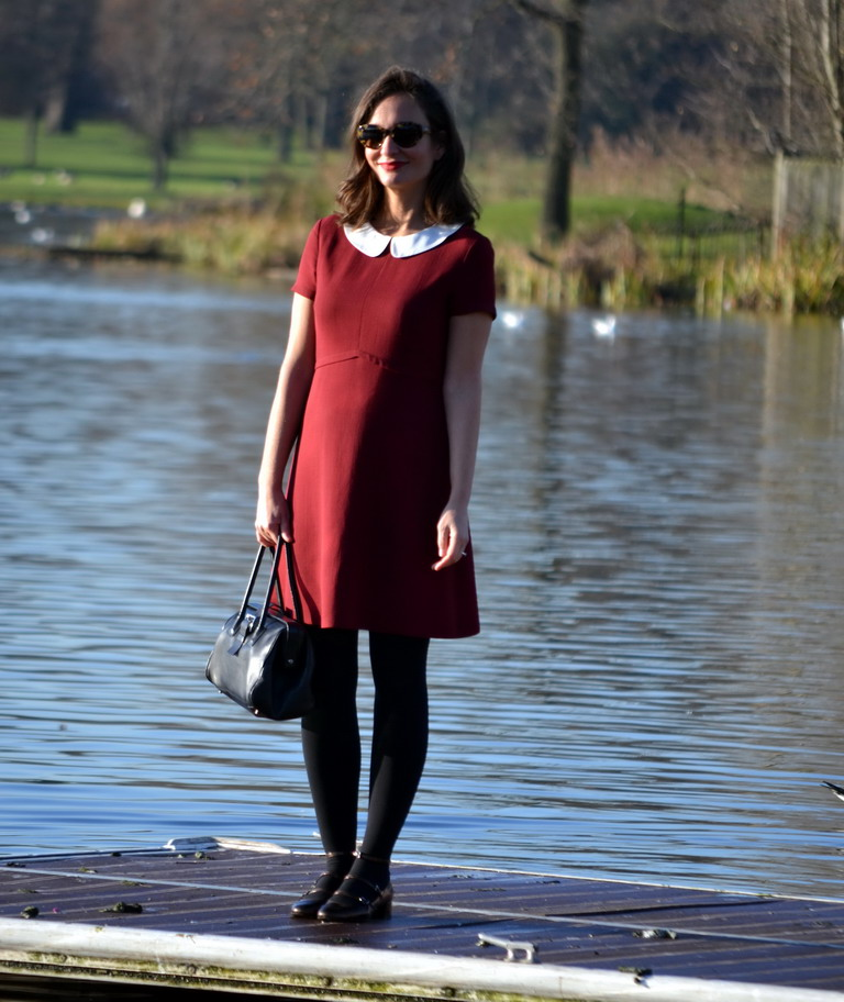 London Streetstyle peter pan collared dress burgundy puce