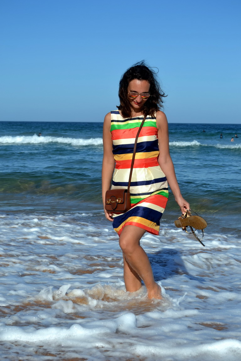 Stripey dress Avalon Beach Australia