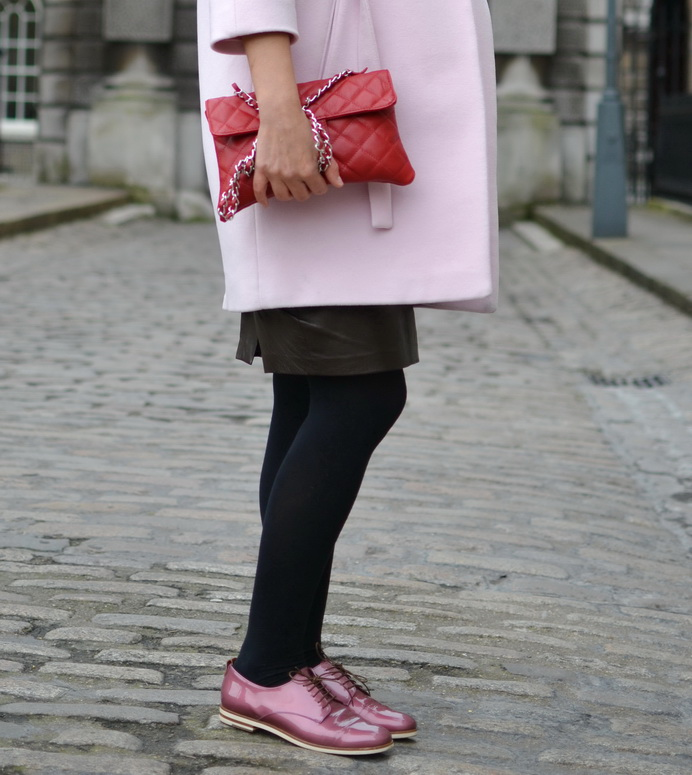 The pink lace-ups are the perfect mix up feminine and masculine.