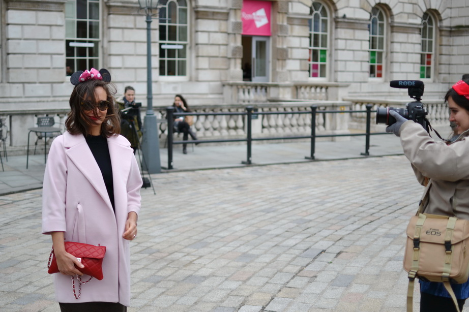 ondon Fashion Week Pink coat max and co, AgL shoes, minnie mouse ears