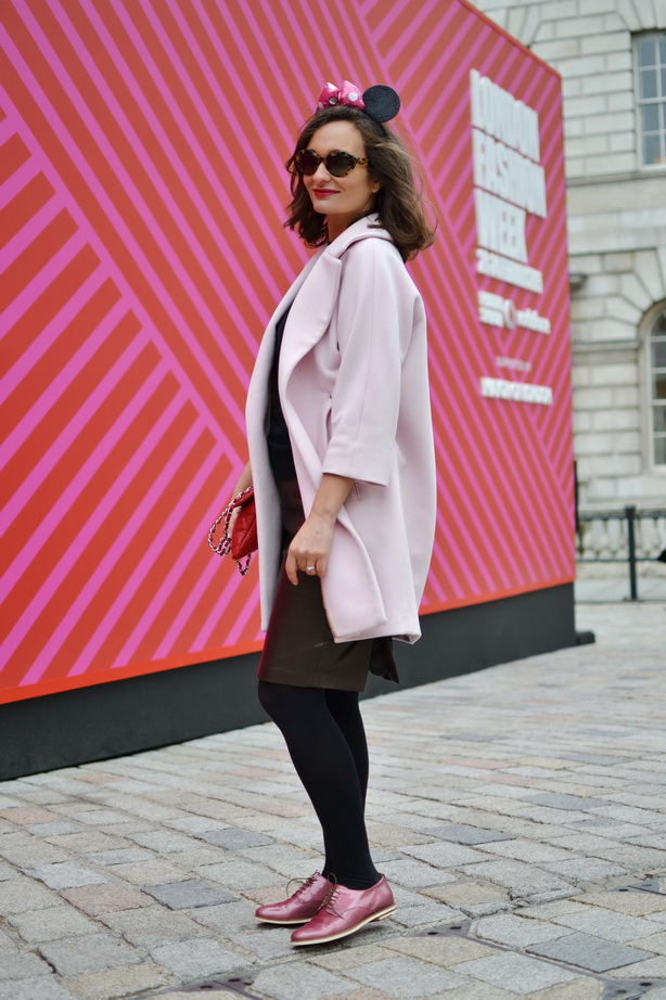 London Fashion Week Pink coat max and co, AgL shoes, minnie mouse ears