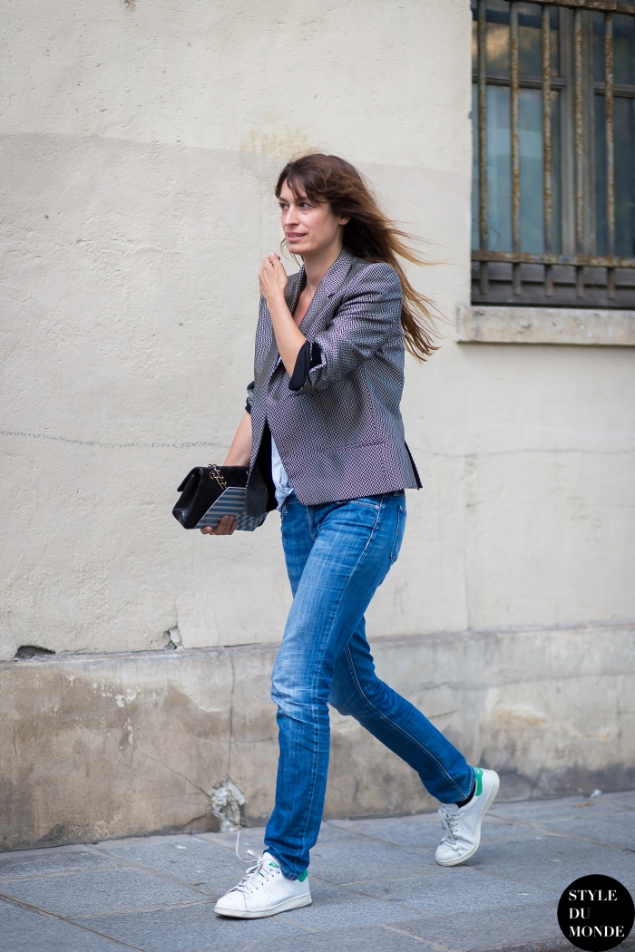 Caroline de Maigret wearing Stan Smith trainers in Paris.