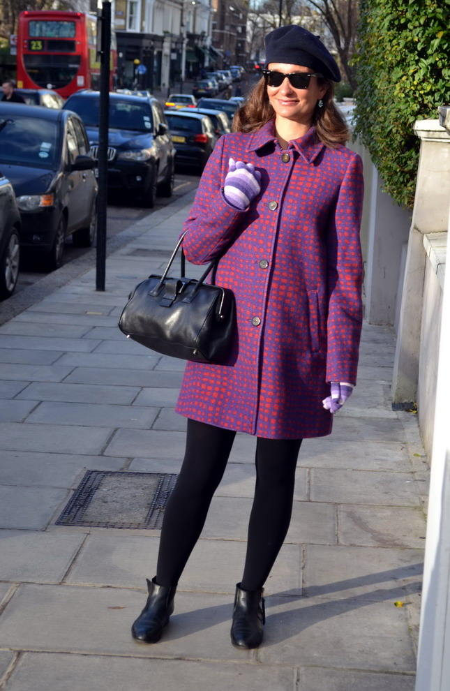 London street style purple coat max and co prada handbag