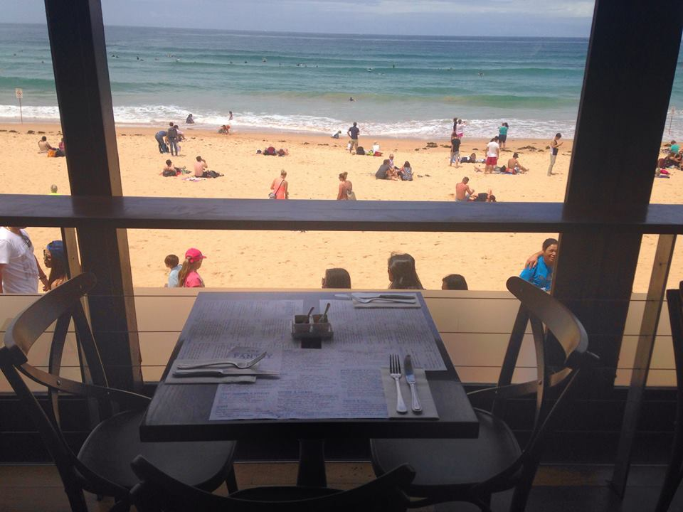 Table for two at the Pantry, overlooking Manly beach