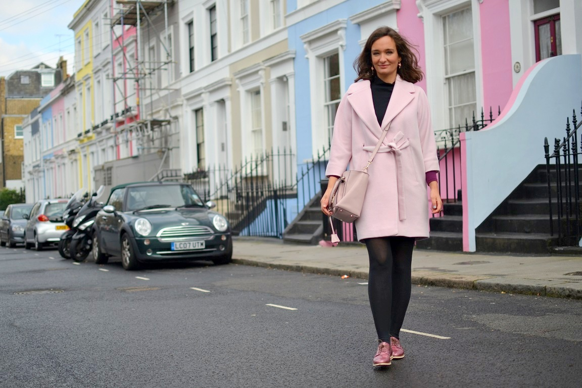 Notting Hill London Street style pink coat Max & Co