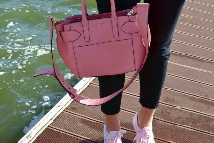London Street style coccinelle bag and superga trainers