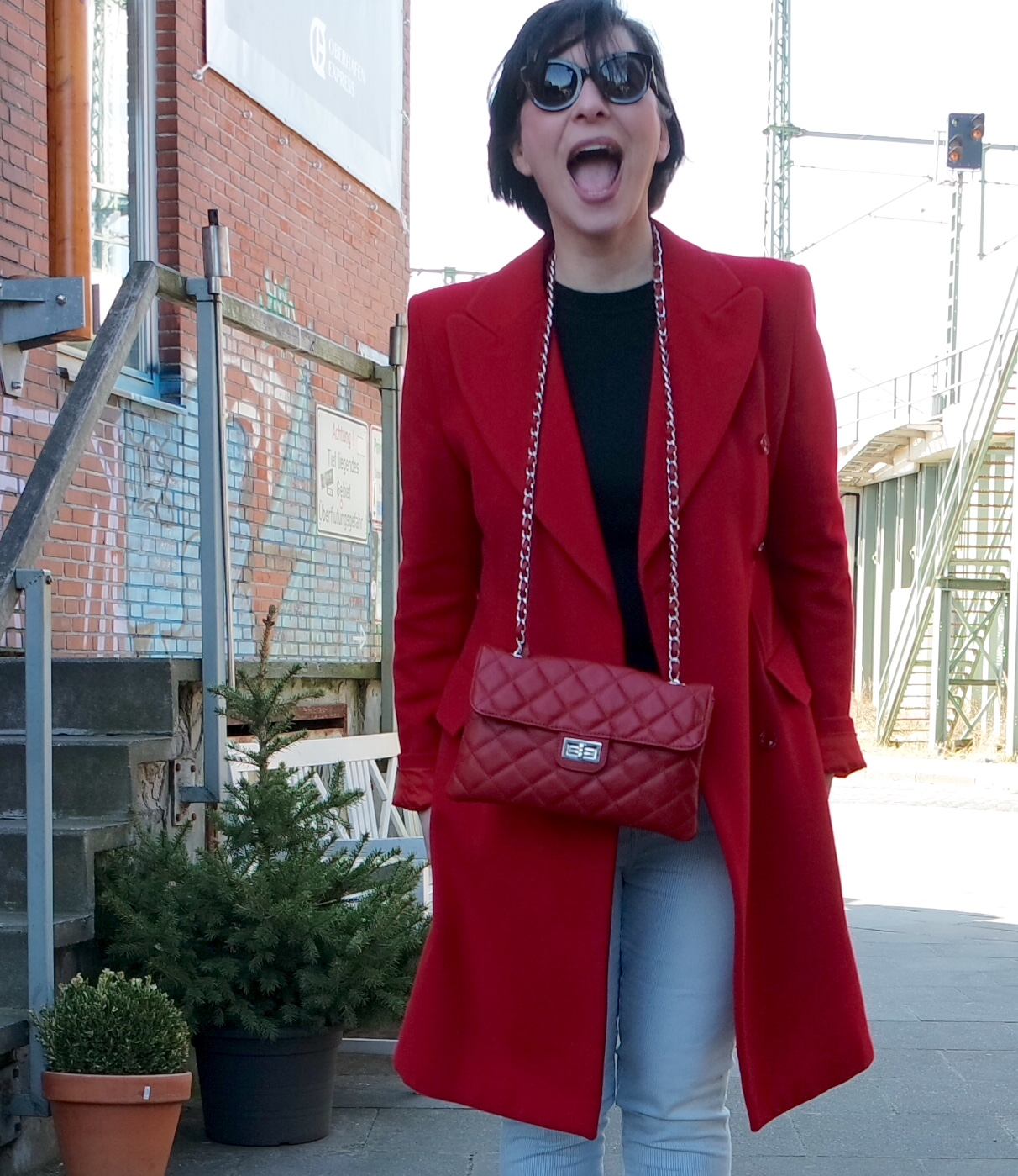 Street Style Red Coat + Chanel bag