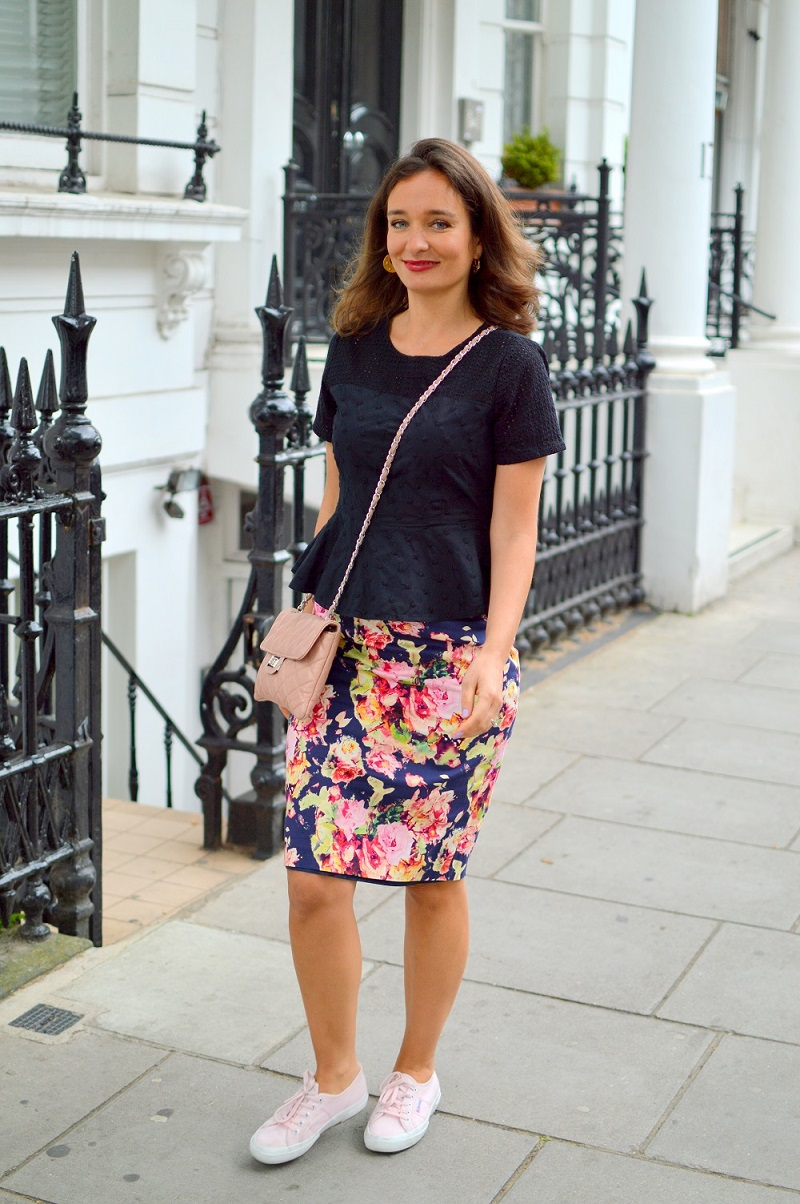 Pink superga pencil skirt street style london