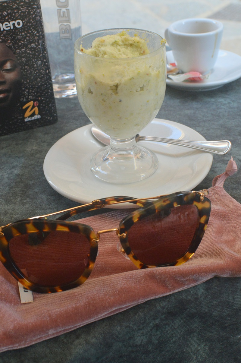 Italian life style: Miu Miu Sunglasses SMU 10N with pink glasses and a pistachio granita.