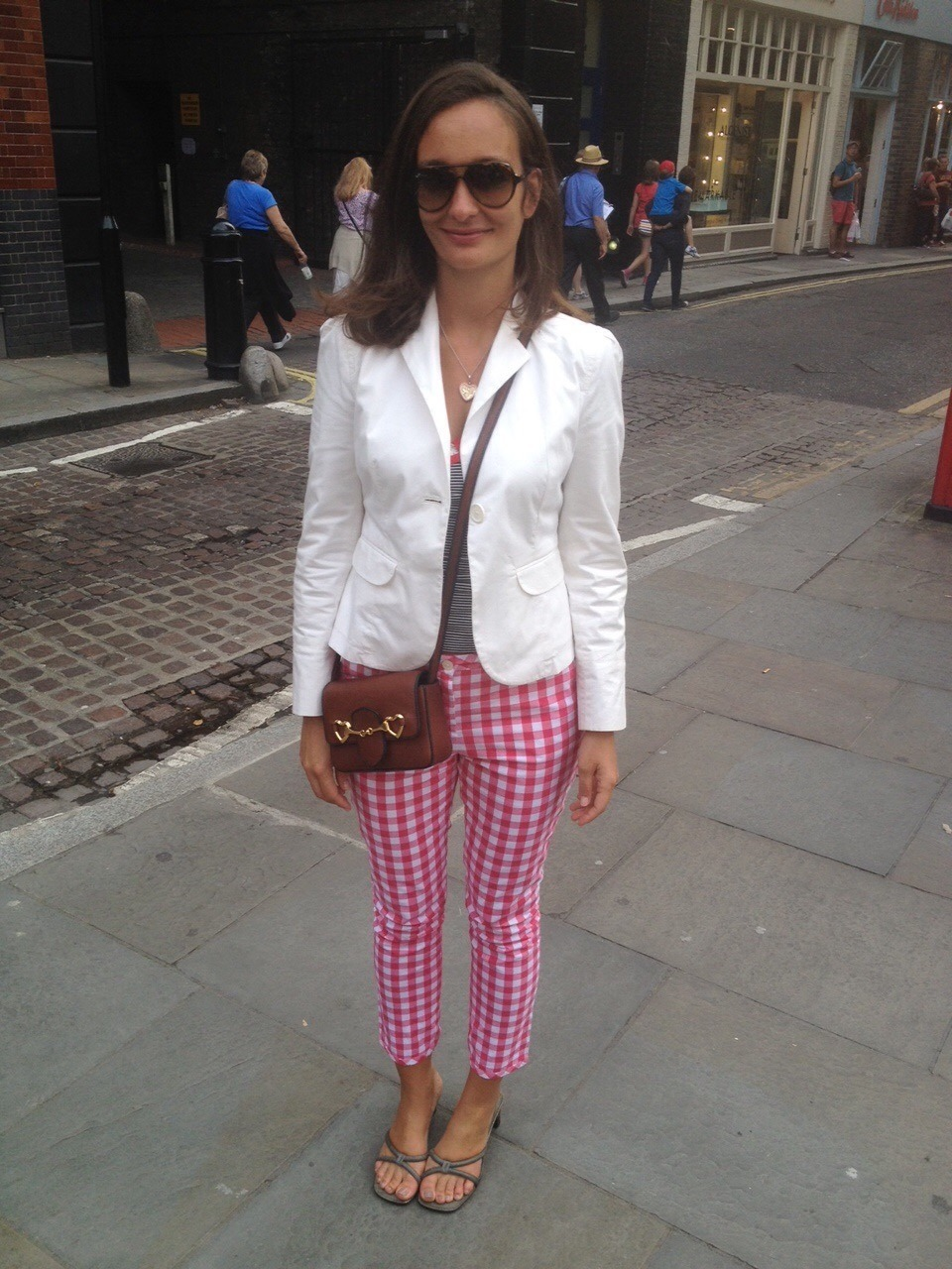 Vichy Gingham trousers by GANT and white blazer by GAP.