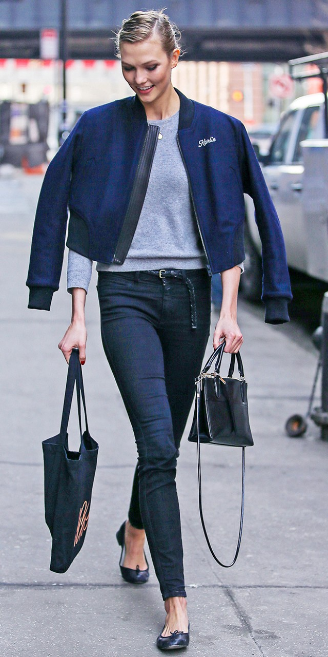 Romantique's style inspo: Classy Karlie Kloss wearing a personalised Rag and Bone Bomber jacket.