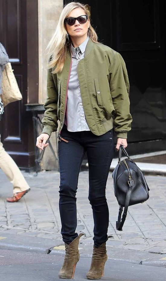 Rebel's style inspiration: Kate Moss wearing a military bomber.
