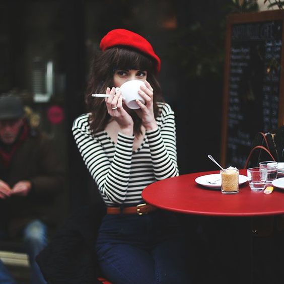 Red Beret Style and Stripey breton shirt