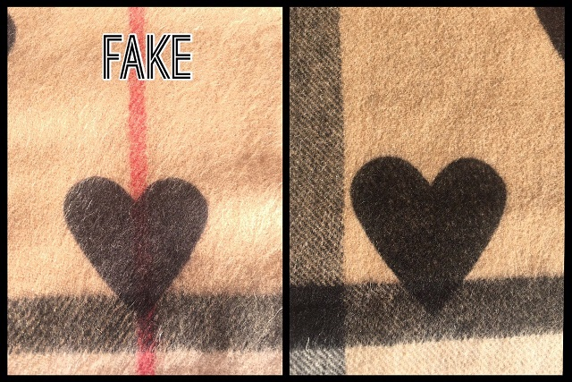 Burberry heart scarf fake and genuine print