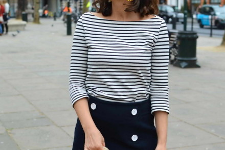 Breton shirt and Sicily Bag Straw bag street style London