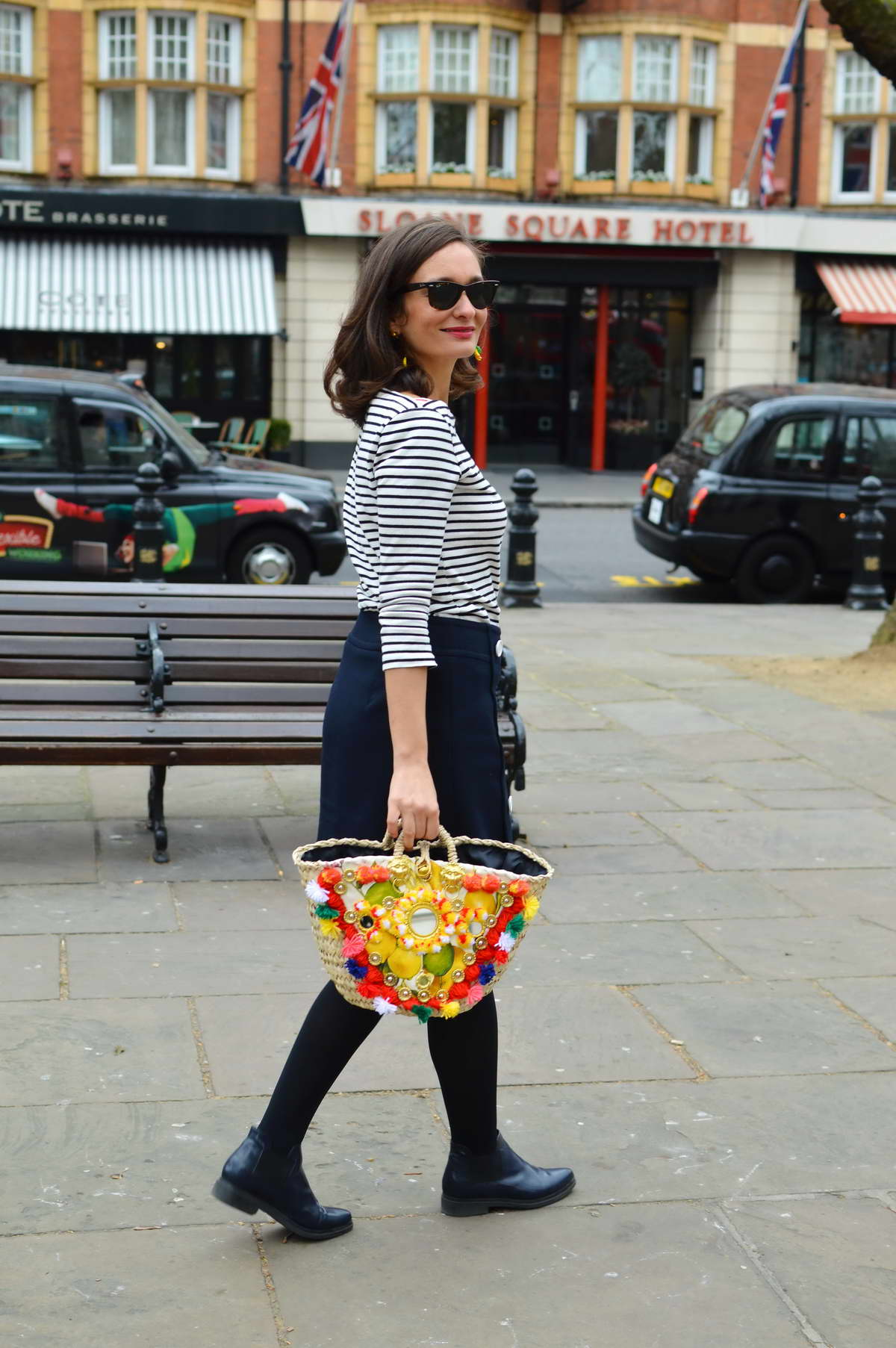 French girl style stripes and straw bag London street style