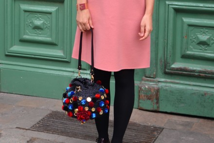 Max Mara pink wool dress pom pom raffia bag