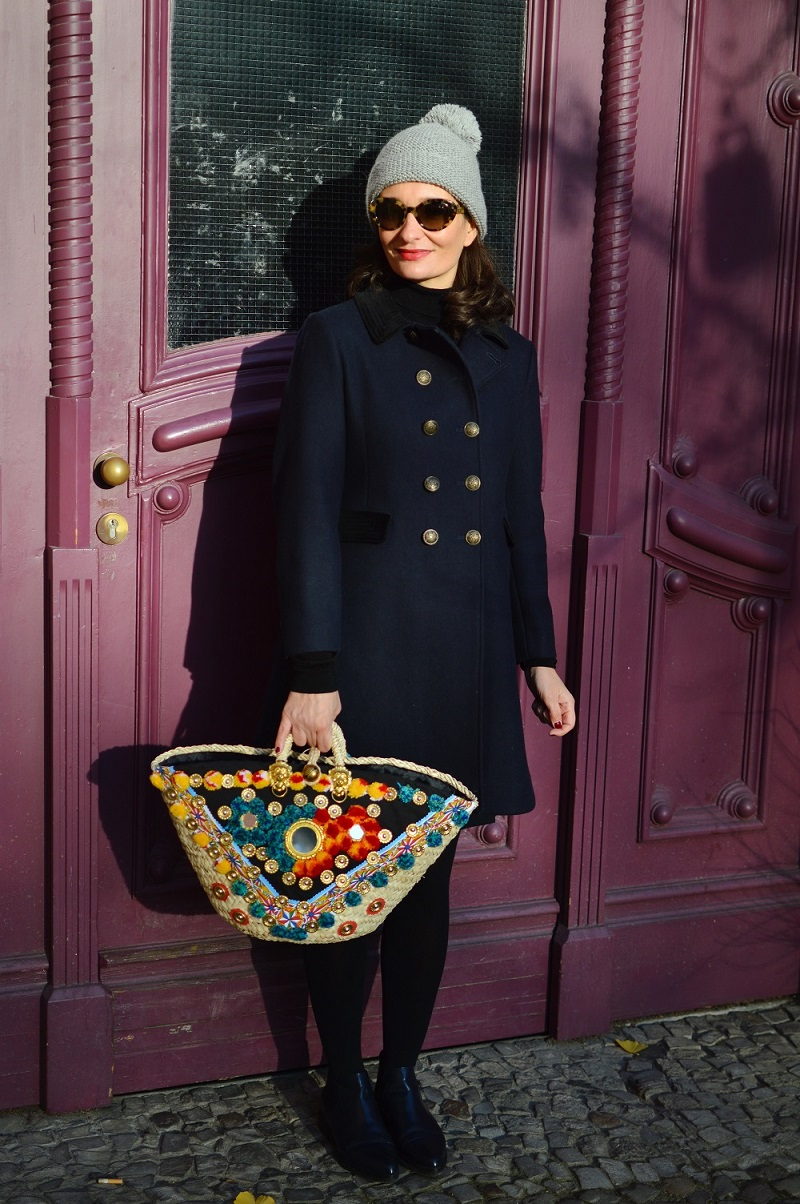 Templar coat by Alexa Chung Marks and Spencers and Sicily Bag Straw bag